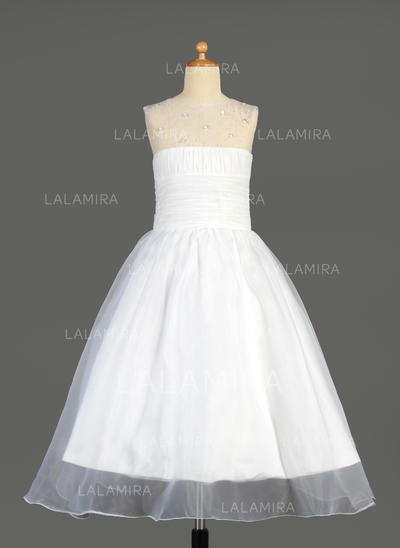 Gorgeous Scoop Neck A-Line/Princess Organza Flower Girl Dresses (010014640)