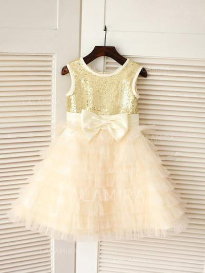 Escote redondo Corte A/Princesa Vestidos para niña de arras Tul/Con lentejuelas Lazo(s) Sin mangas Hasta la rodilla (010211932)