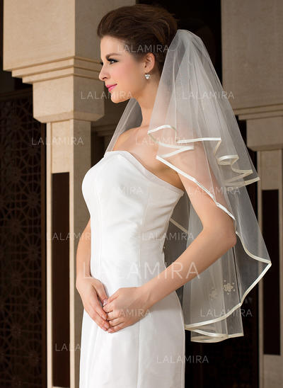 Fingertip Bridal Veils Tulle One-tier Angel cut/Waterfall/Cascade With Ribbon Edge Wedding Veils (006151479)