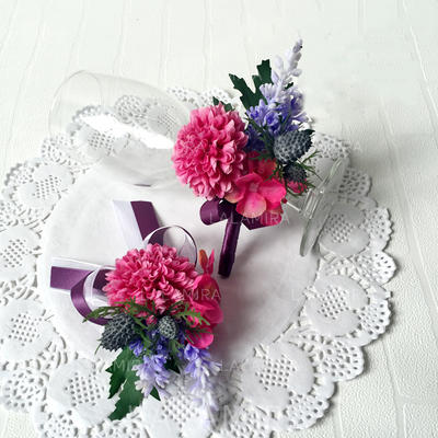 "Flower Sets Wedding/Party Ribbon/Artificial Silk 2.76"" (Approx.7cm) Sold in set of two which includes one wrist corsage and one boutonniere Wedding Flowers (123189366)"