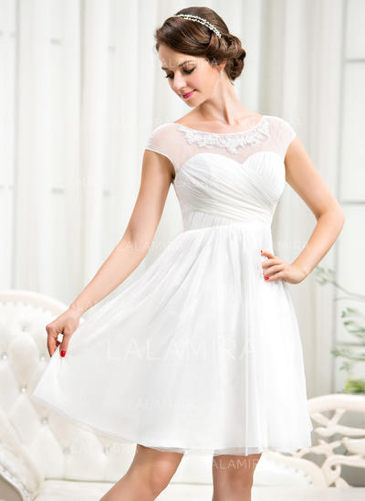 Tulle A-Line/Princess Delicate Ruffle Beading Appliques Sequins Wedding Dresses (002056244)