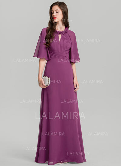 A-Line/Princess Scoop Neck Floor-Length Chiffon Evening Dress With Ruffle Flower(s) (017126595)