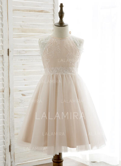 A-Line/Princess Knee-length Flower Girl Dress - Tulle/Lace Sleeveless Halter With Back Hole (010164725)