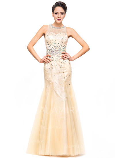 Trumpetmermaid Prom Dresses Newest Floor Length Scoop Neck