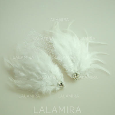 """Forehead Jewelry Wedding/Special Occasion/Party Net Yarn/Feather 9.84""""(Approx.25cm) 3.15""""(Approx.8cm) Headpieces (042159537)"""
