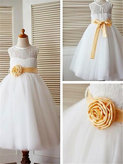 Scoop Neck A-Line/Princess Flower Girl Dresses Tulle/Lace Sash/Flower(s) Sleeveless Ankle-length (010211826)