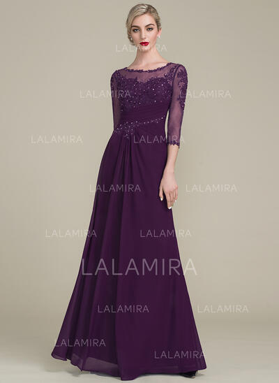 A-Line/Princess Scoop Neck Floor-Length Mother of the Bride Dress With Ruffle Beading Sequins (008102676)