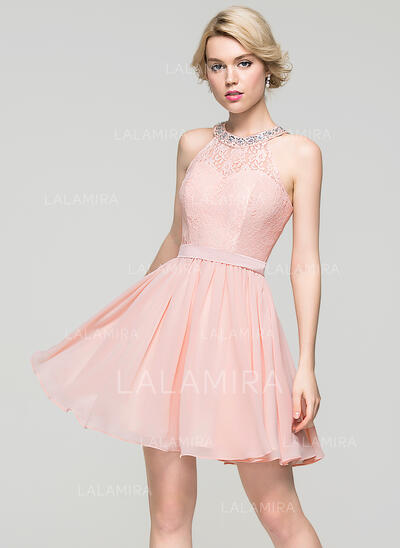 A-Line/Princess Scoop Neck Short/Mini Chiffon Cocktail Dress With Beading Sequins Bow(s) (016091227)
