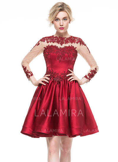 A-Line/Princess Scoop Neck Knee-Length Satin Cocktail Dress With Appliques Lace (016081115)
