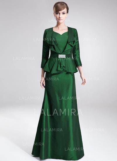 A-Line/Princess Taffeta Sleeveless V-neck Floor-Length Zipper Up Mother of the Bride Dresses (008213124)