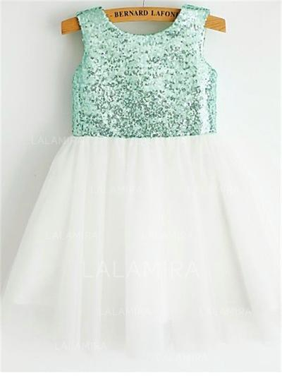 Scoop Neck A-Line/Princess Flower Girl Dresses Chiffon/Sequined Pleated Sleeveless Tea-length (010211885)