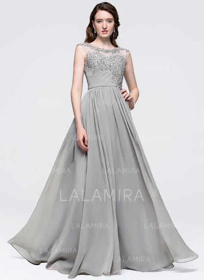 A-Line/Princess Scoop Neck Floor-Length Chiffon Prom Dresses With Ruffle Beading Sequins (018089735)