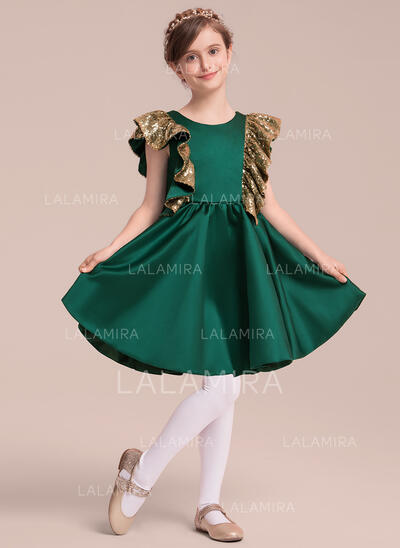 A-Line/Princess Knee-length Flower Girl Dress - Satin/Sequined Sleeveless Scoop Neck With Ruffles/Bow(s) (010141182)