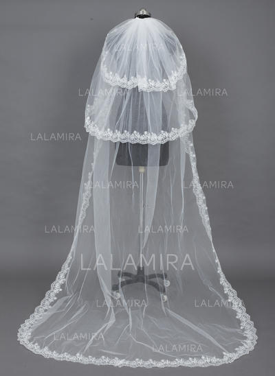 Chapel Bridal Veils Tulle Three-tier Drop Veil With Lace Applique Edge Wedding Veils (006151125)