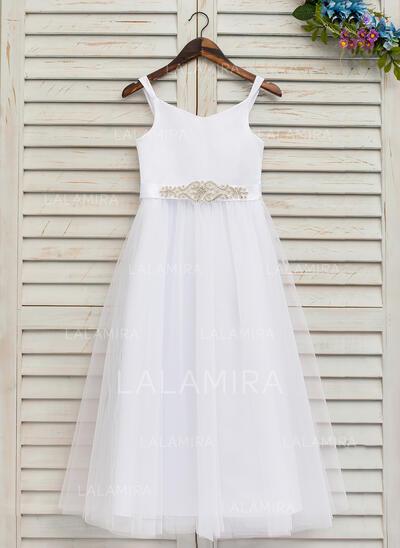 Forme Princesse Longueur cheville Robes à Fleurs pour Filles - Satiné/Tulle Sans manches Bretelles avec Strass (Bande détachable) (010146214)