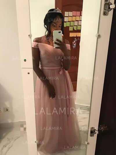 Sleeveless A-Line/Princess Tulle Sash Prom Dresses (018148433)
