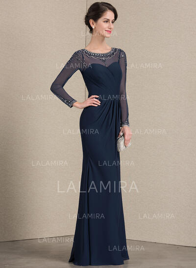Sheath/Column Scoop Neck Floor-Length Chiffon Evening Dress With Ruffle Beading (017164942)