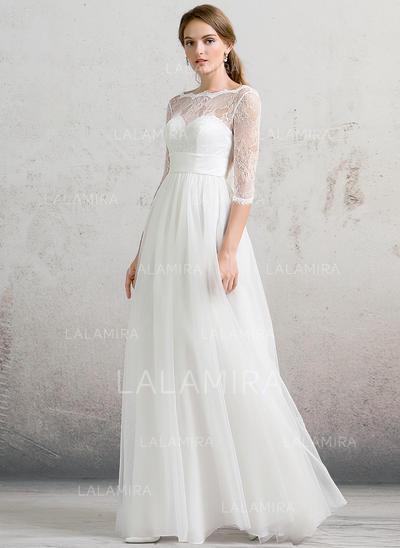 Longos Vestidos princesa/ Formato A Tule Estonteante Vestidos de noiva (002088484)
