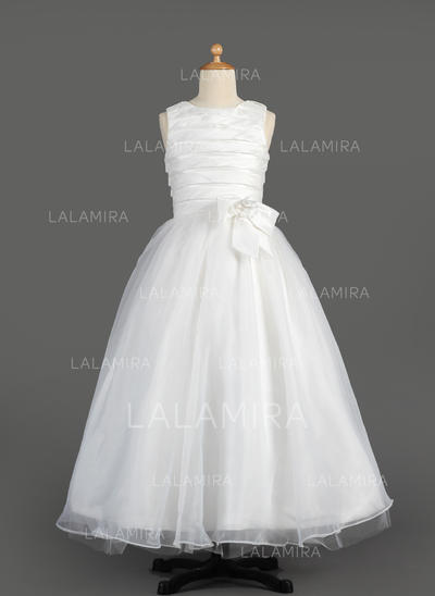 Newest A-Line/Princess Ruffles/Flower(s)/Bow(s) Sleeveless Taffeta/Organza Flower Girl Dresses (010014605)
