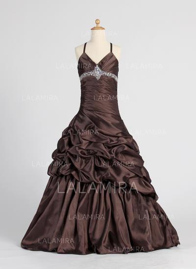 A-Line/Princess Floor-length Taffeta - Stunning Flower Girl Dresses (010005885)