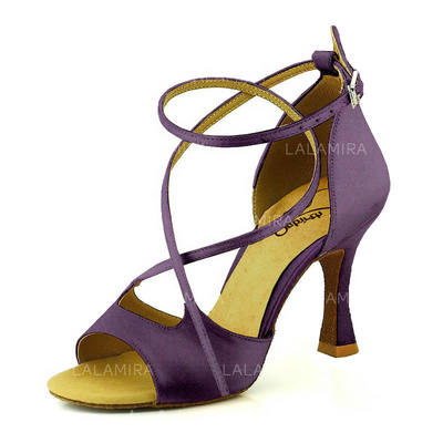 Women's Latin Heels Sandals Pumps Satin Dance Shoes (053180617)
