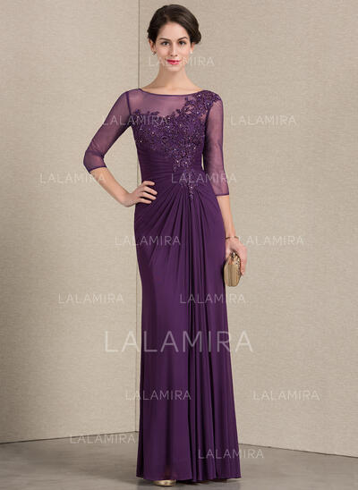 Sheath/Column Scoop Neck Floor-Length Jersey Evening Dress With Ruffle Beading Sequins (017164943)