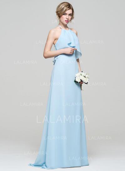 A-linjainen/Prinsessa Niskalenkillä Ylipitkä/Laahus Sifonki Morsiusneitojen mekko jossa Laskeutuva röyhelö (007074194)