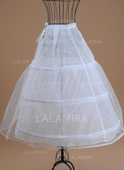 Bustle Tea-length Tulle Netting/Satin A-Line Slip 1 Tiers Petticoats (037190842)