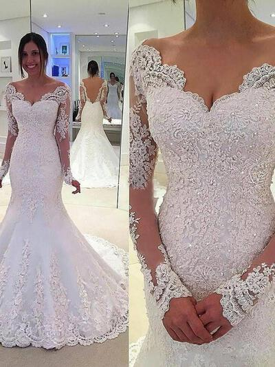 Trumpet/Mermaid Lace Long Sleeves Off-The-Shoulder Chapel Train Wedding Dresses (002147794)