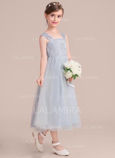 Forme Princesse Longueur mollet Robes à Fleurs pour Filles - Tulle/Dentelle Sans manches Encolure carrée (010136588)