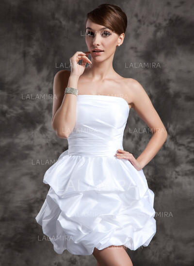 A-Line/Princess Strapless Short/Mini Taffeta Wedding Dress With Ruffle (002024073)