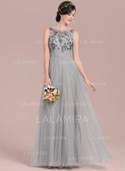 A-Line/Princess Scoop Neck Floor-Length Tulle Sequined Bridesmaid Dress With Ruffle (007126437)