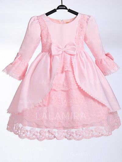 Scoop Neck A-Line/Princess Flower Girl Dresses Taffeta/Lace Bow(s) 3/4 Sleeves Knee-length (010211961)