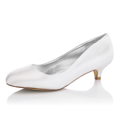 Women's Closed Toe Pumps Dyeable Shoes Kitten Heel Satin Yes Wedding Shoes (047206221)