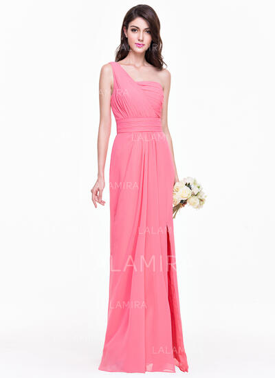 Sheath/Column One-Shoulder Floor-Length Chiffon Bridesmaid Dress With Ruffle Split Front (007068363)