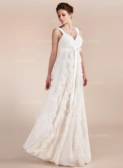Império Amada Longos Tecido de seda Vestido de noiva com Curvado Babados em cascata (002011682)
