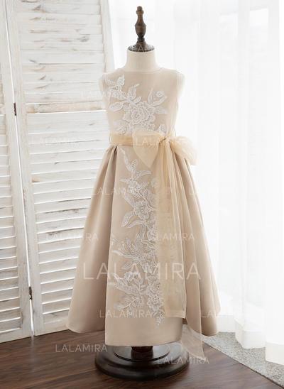 Corte A Hasta la tibia Vestidos de Niña Florista - Satén/Tul/Encaje Sin mangas Escote redondo (010172355)