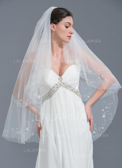 Fingertip Bridal Veils Tulle Two-tier Classic With Cut Edge Wedding Veils (006152116)