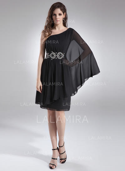A-Line/Princess One-Shoulder Knee-Length Chiffon Cocktail Dresses With Ruffle Beading (016008400)