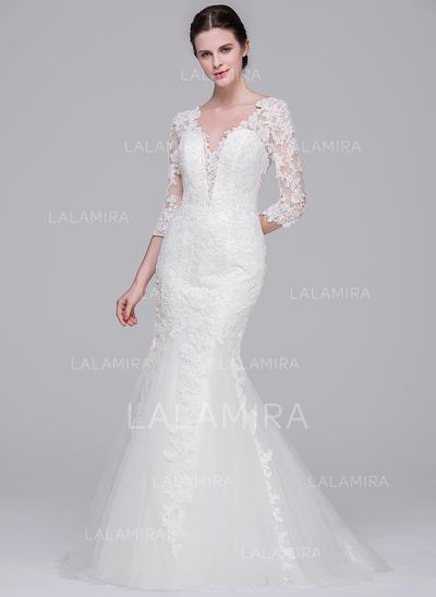 Tulle Dentelle Forme Sirène/Trompette Luxueux Robes de mariée (002071570)
