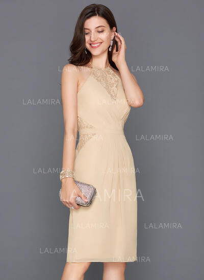 Sheath/Column Scoop Neck Knee-Length Chiffon Cocktail Dress With Ruffle Bow(s) Split Front (016124560)