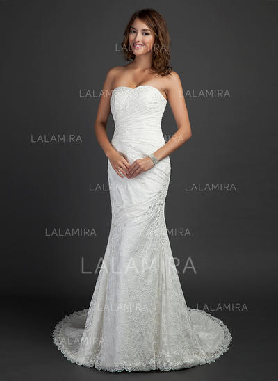 Trumpet/Mermaid Sweetheart Court Train Wedding Dresses With Ruffle Beading (002000460)
