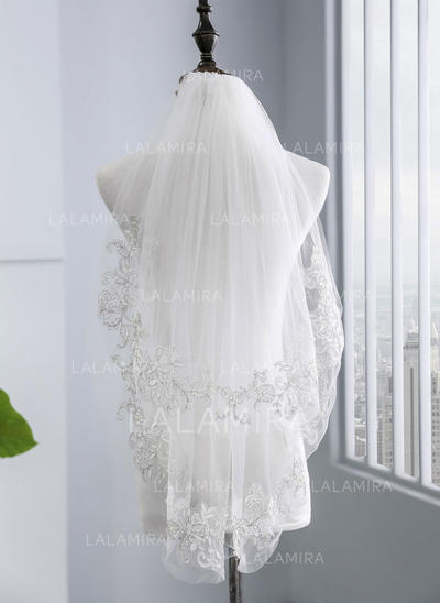 Elbow Bridal Veils Tulle Two-tier With Lace Applique Edge With Lace Wedding Veils (006152516)