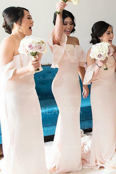 Trumpet/Mermaid Charmeuse Bridesmaid Dresses Cascading Ruffles Off-the-Shoulder Sleeveless Sweep Train (007145059)