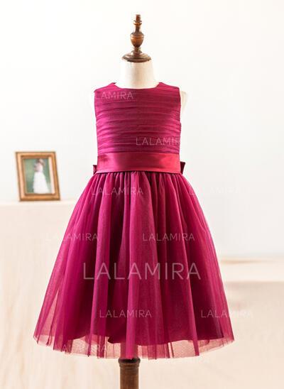 Forme Princesse Longueur genou Robes à Fleurs pour Filles - Satiné/Tulle Sans manches Col rond avec À ruban(s) (010104992)