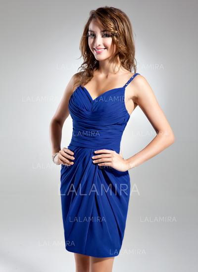 Sheath/Column Glamorous Chiffon General Plus Cocktail Dresses (016015549)