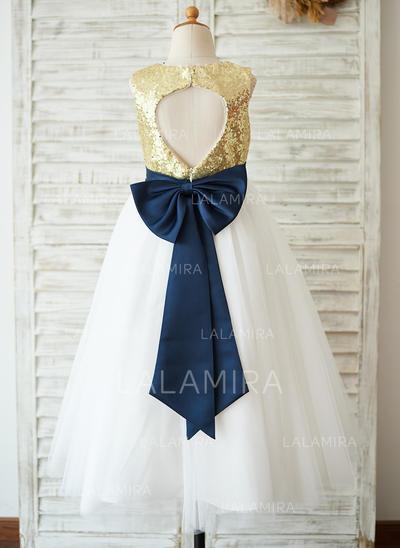 Vestidos princesa/ Formato A Comprimento médio Vestidos de Menina das Flores - Lantejoulas Sem magas Decote redondo com lantejoulas/Curvado (010123037)