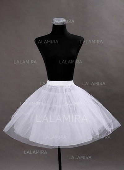 Bustle Short-length Tulle Netting/Satin Short Flare Slip 2 Tiers Petticoats (037190839)