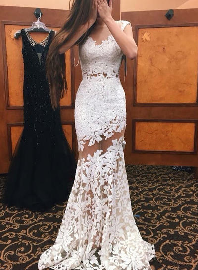 Trumpet/Mermaid Lace Prom Dresses Scoop Neck Sleeveless Sweep Train (018210263)