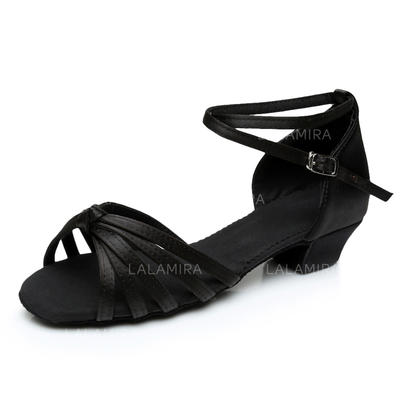 Kids' Latin Heels Sandals Satin With Ankle Strap Dance Shoes (053180461)
